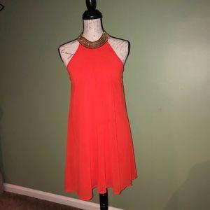 City triangles Orange Chiffon Halter Neck dress